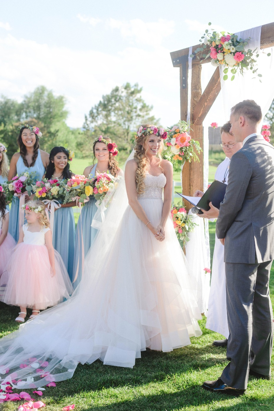 rustic chic outdoor wedding ceremony