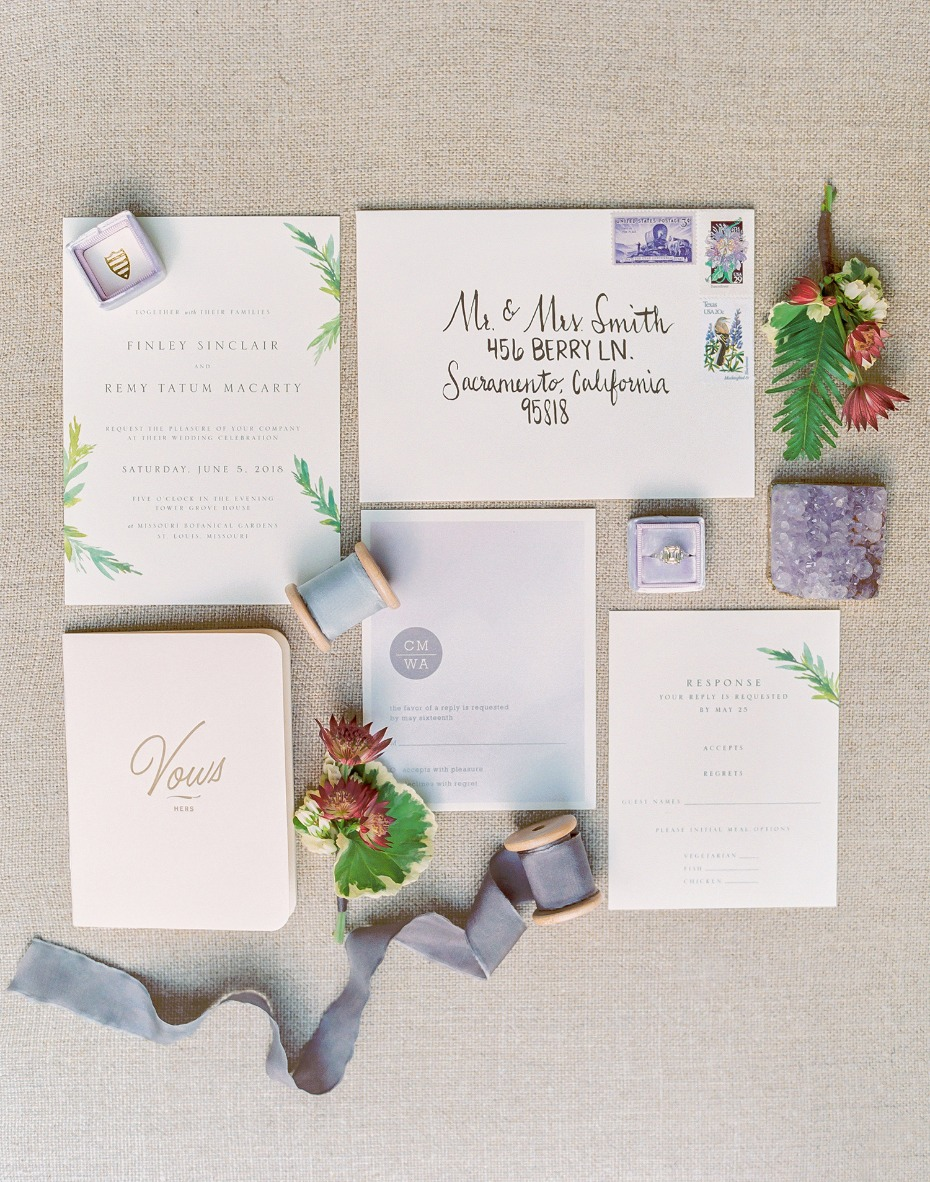 Elegant greenery invitation suite
