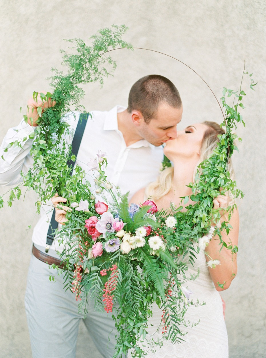 Greenery hoop photo booth prop