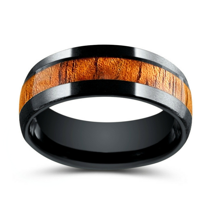 Black Tungsten Wood Wedding Ring. Inlaid with genuine koa wood. This wood wedding band is waterproof and extremely durable.
