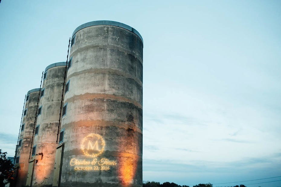 Silos wedding with projected monogram