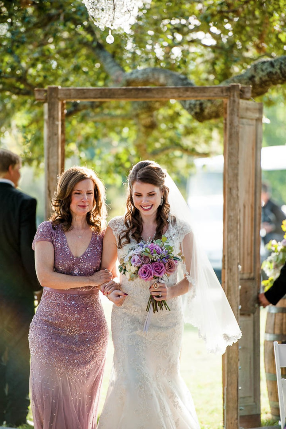 Mom walks daughter down the aisle