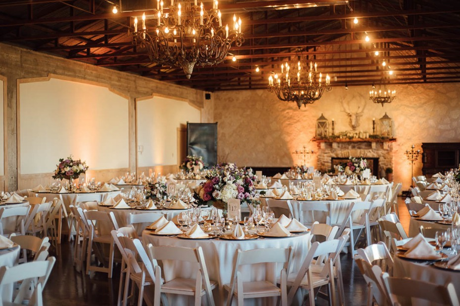 Elegant indoor reception with chandeliers