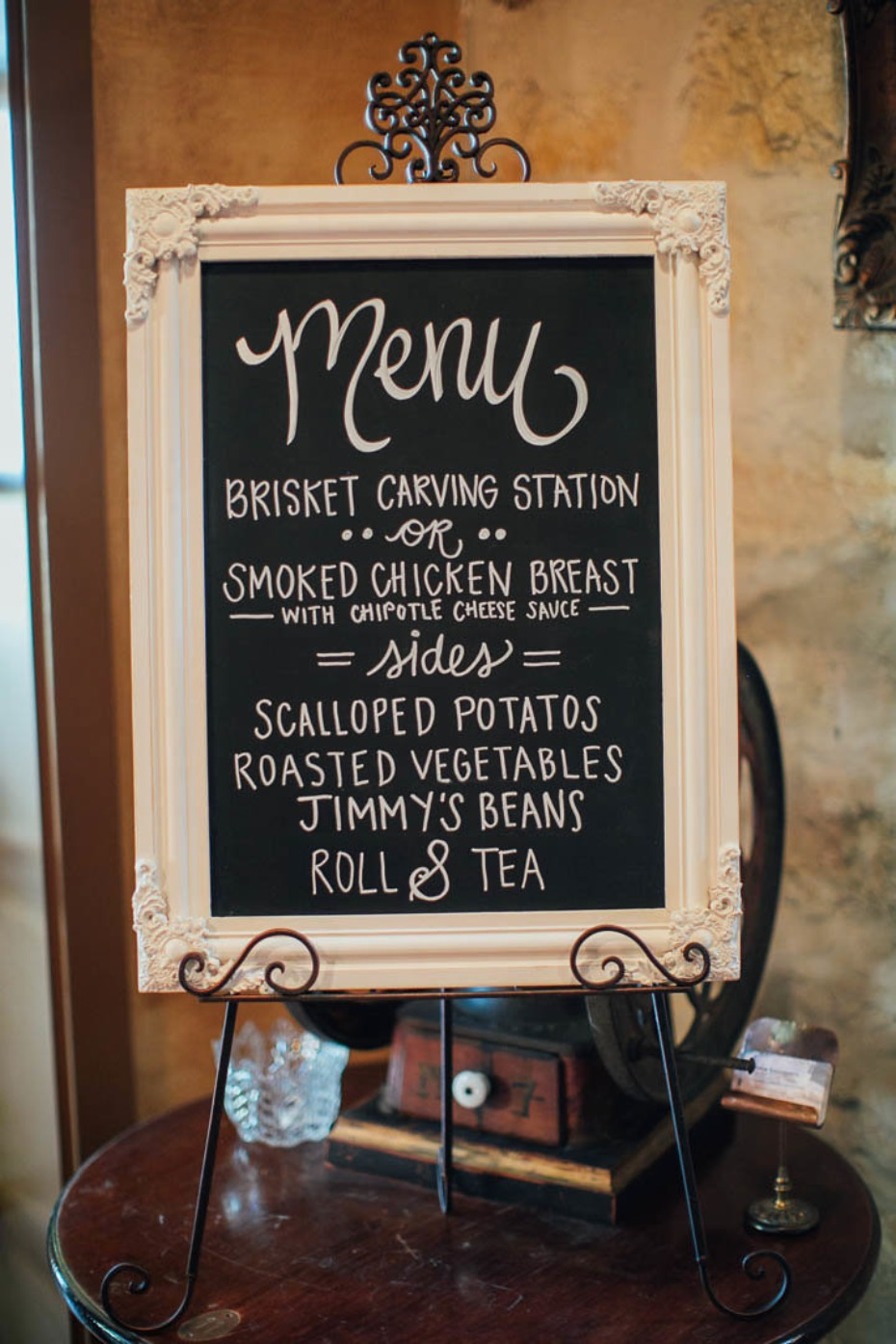 Vintage chalk board menu