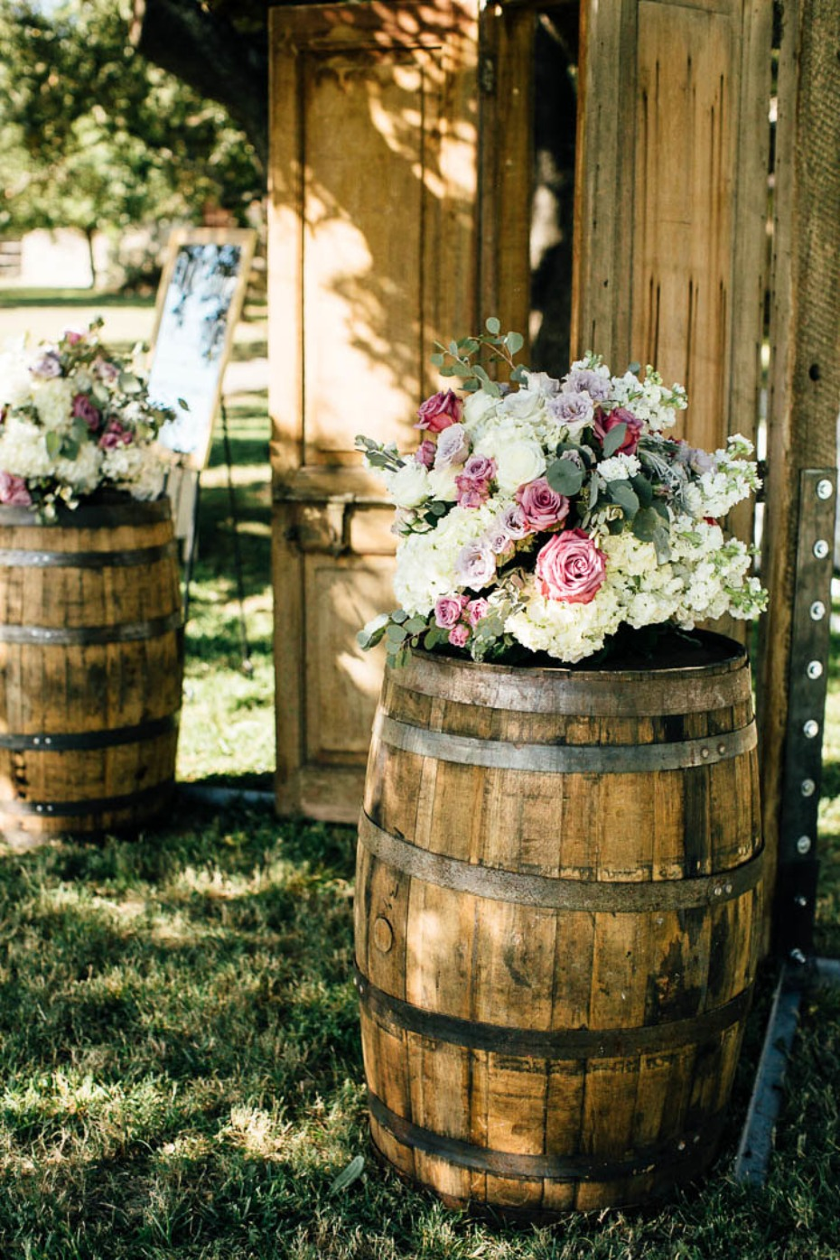 Rustic wine barrel decor for the ceremony