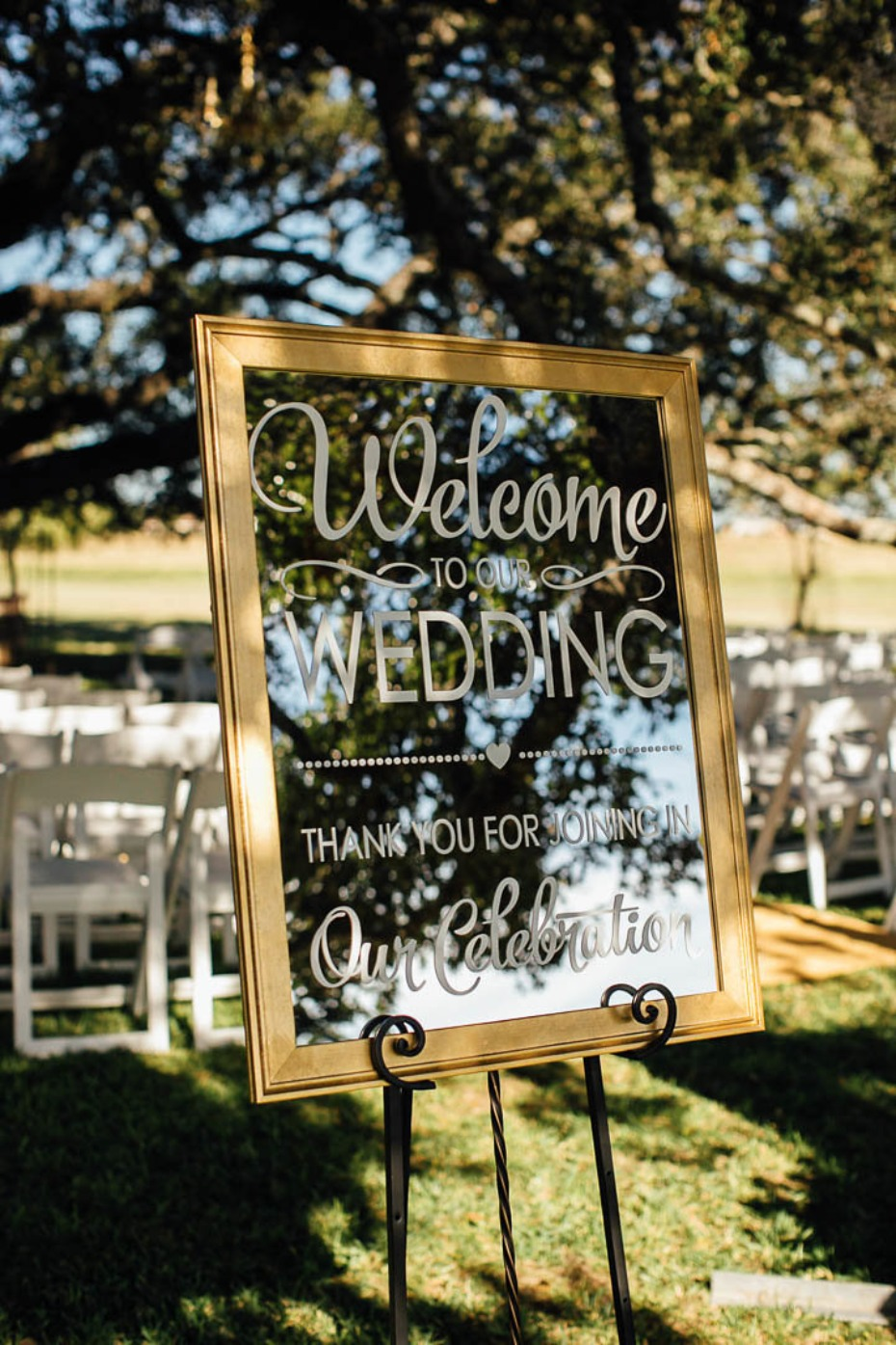 Mirror welcome wedding sign
