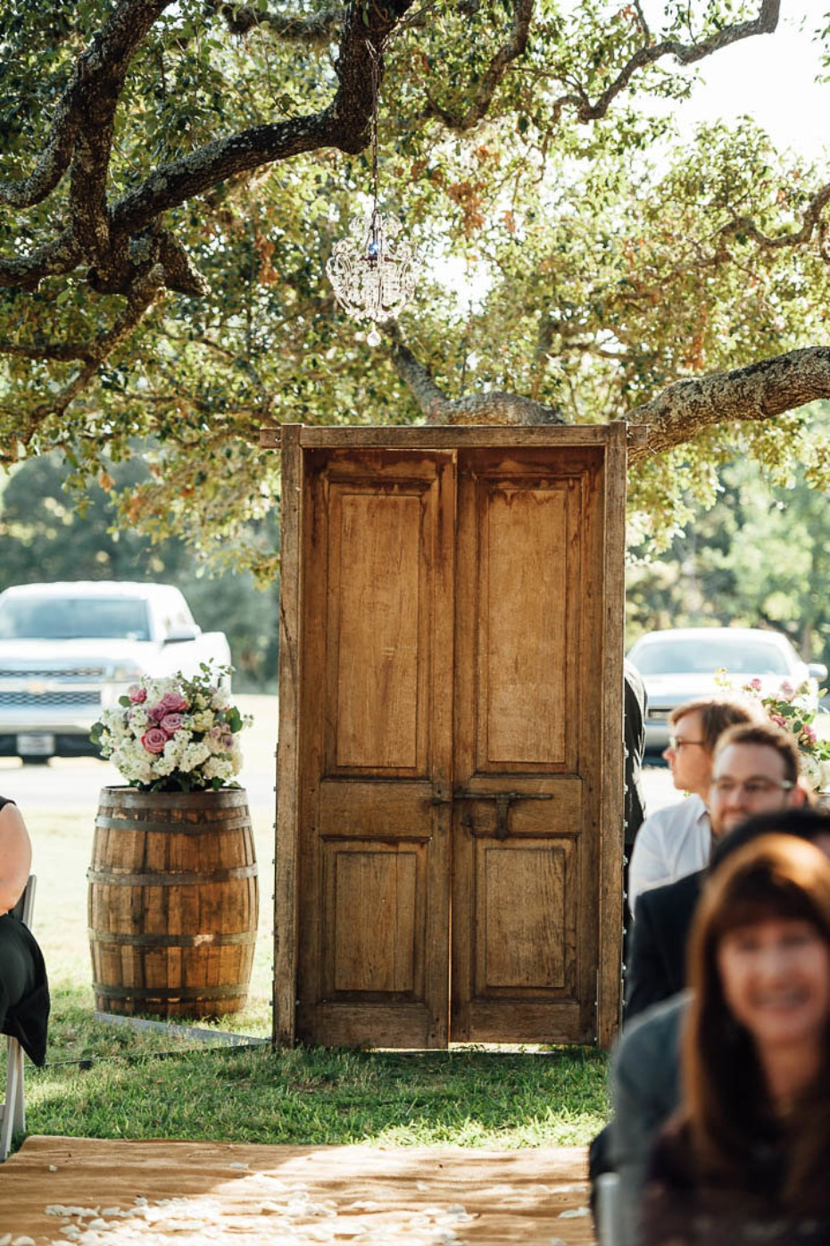 Rustic wood ceremony doors
