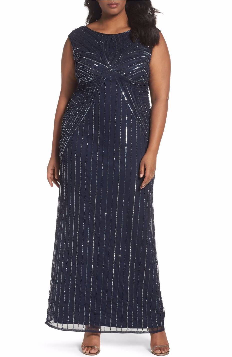 Embellished Cap Sleeve Gown ADRIANNA PAPELL