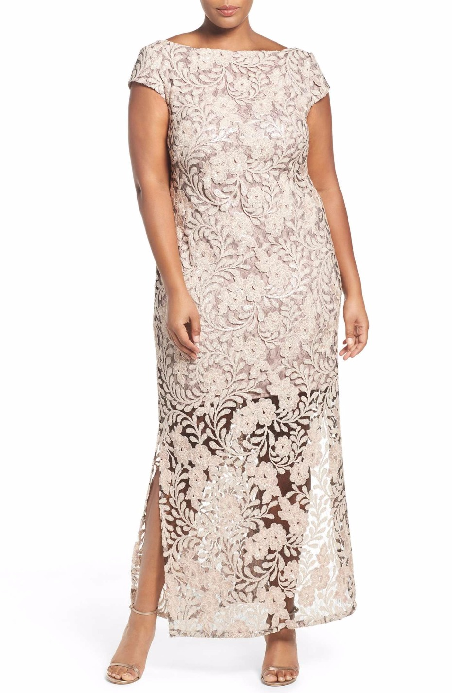 Sequin Lace Column Gown BRIANNA