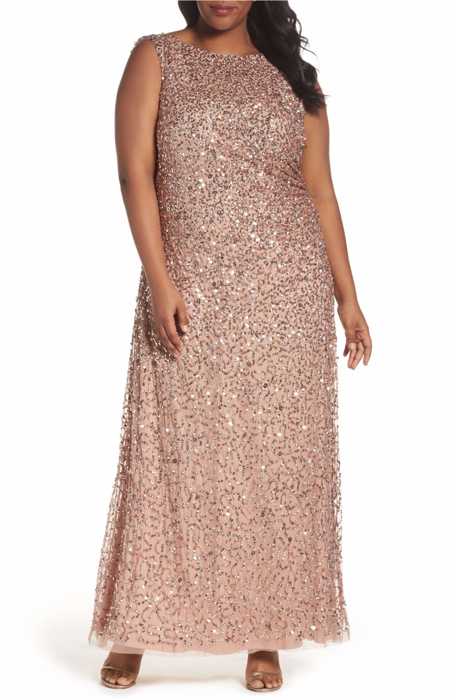 Sequin Cowl Back Gown ADRIANNA PAPELL
