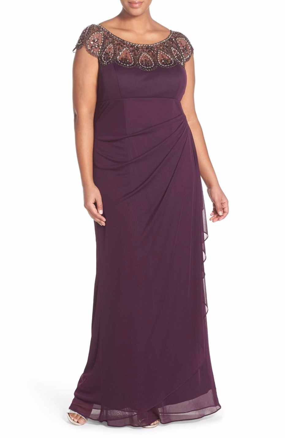 Beaded Neck Empire Gown XSCAPE