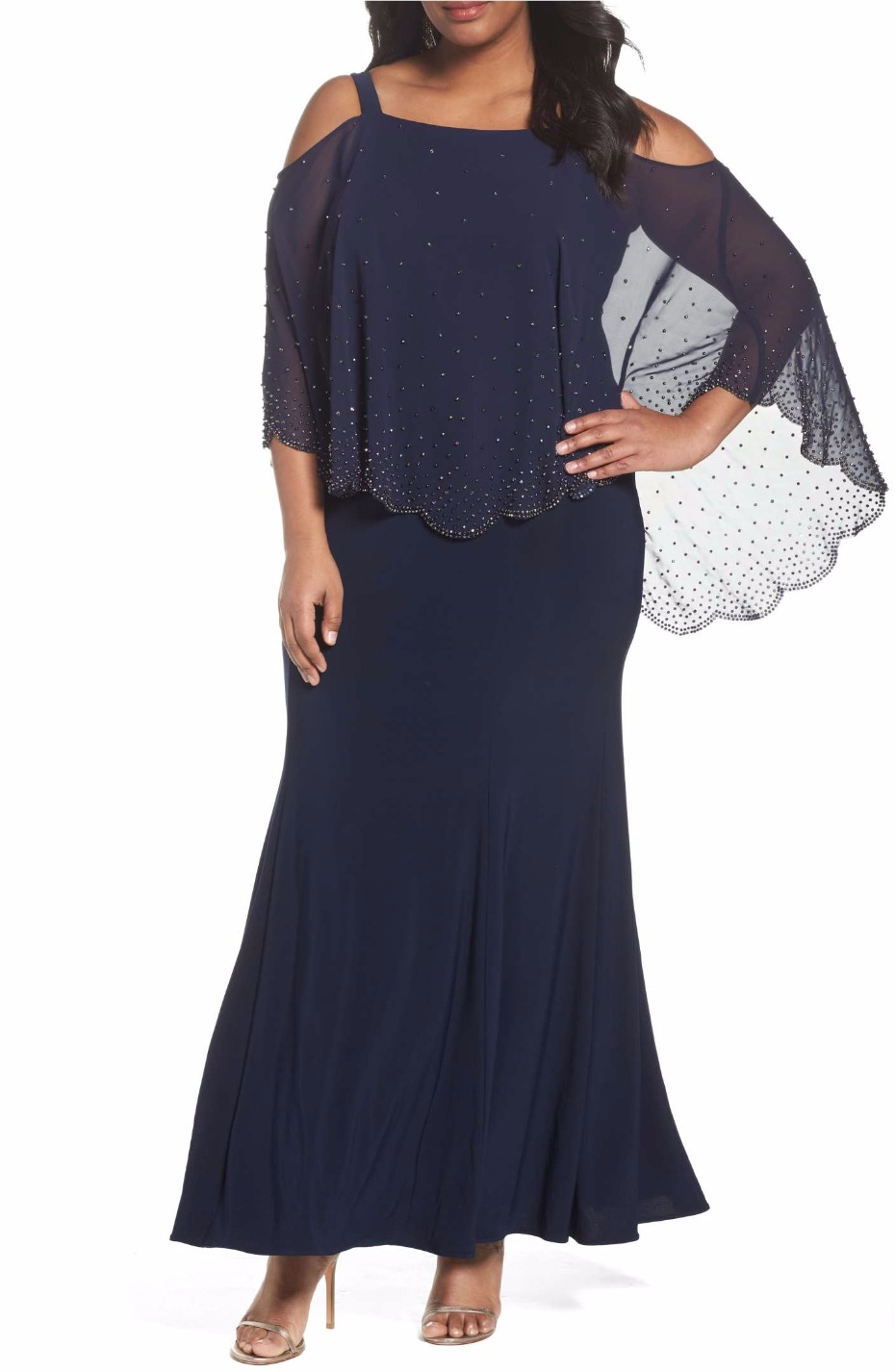 Embellished Overlay Off the Shoulder Gown XSCAPE