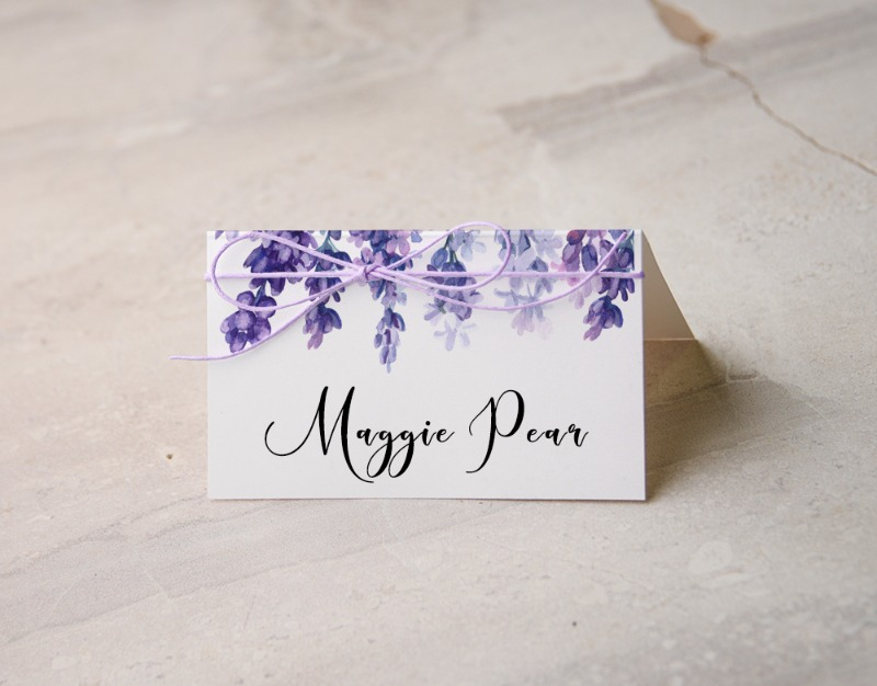 place card with lavender