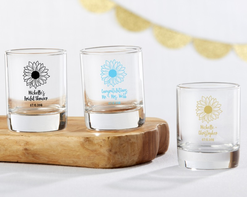 🌻 Light up your special event with personalized glass votive holders – aka shot glasses!