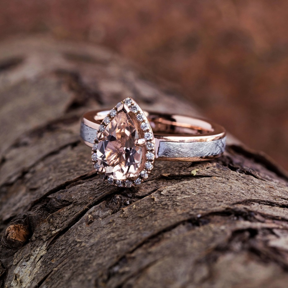 Jewelry by Johan Meteorite, Rose Gold & Morganite Engagement Ring