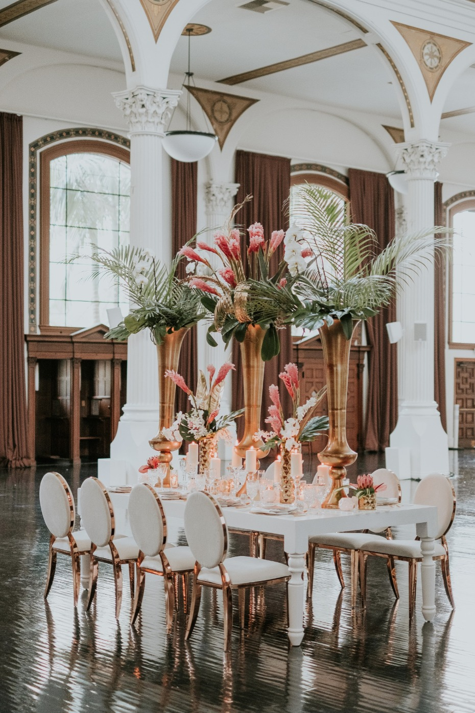 Gold and white tropical glam reception