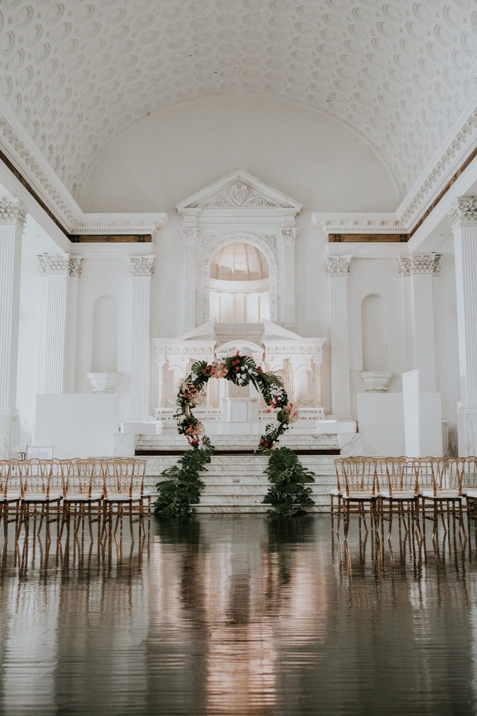Tropical glam ceremony arch