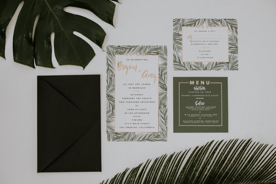 Tropical glam invitation suite