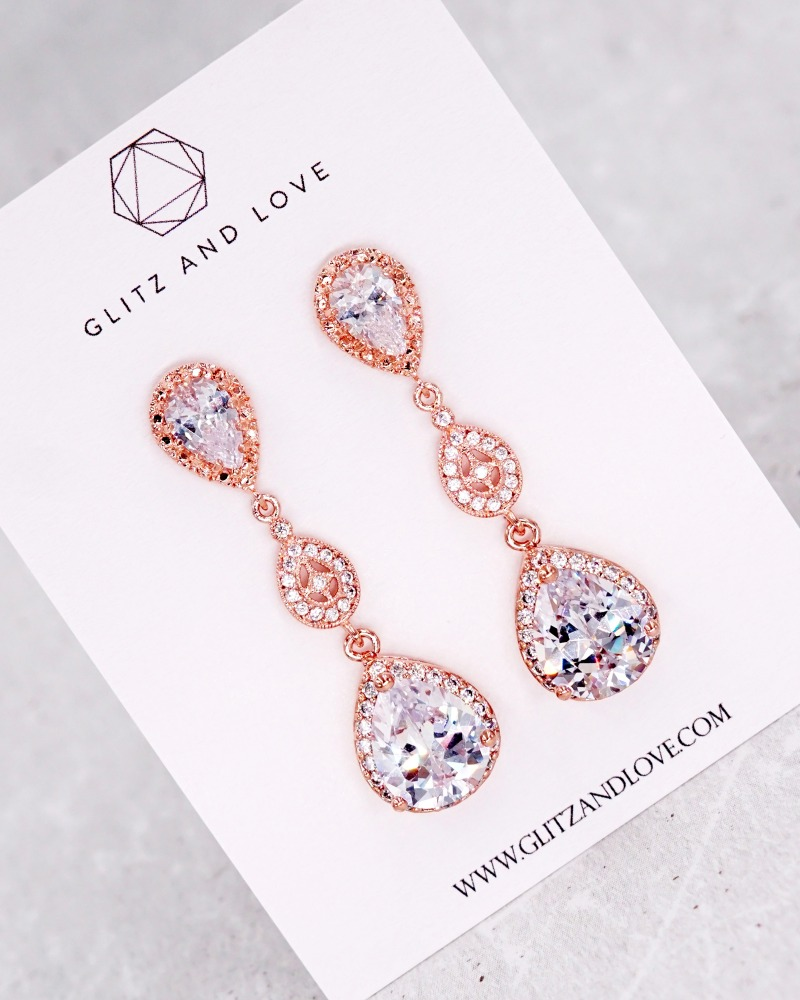 Rose Gold Jewelry Set, Cubic zirconia teardrop long earrings, vintage classic style, brides jewelry, bridesmaid bridal shower gifts