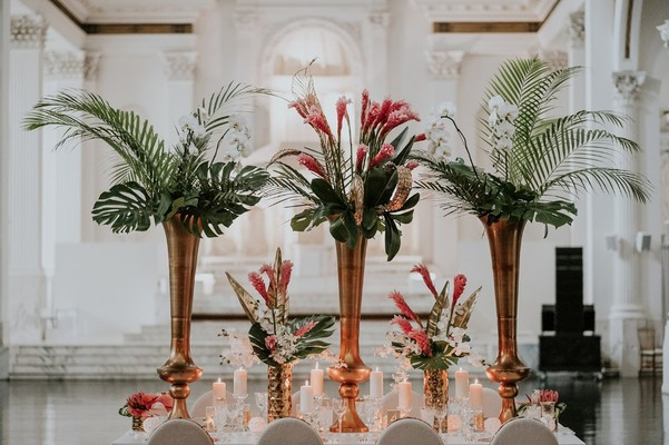 Trendy Tropical Glam Wedding Ideas in White and Gold
