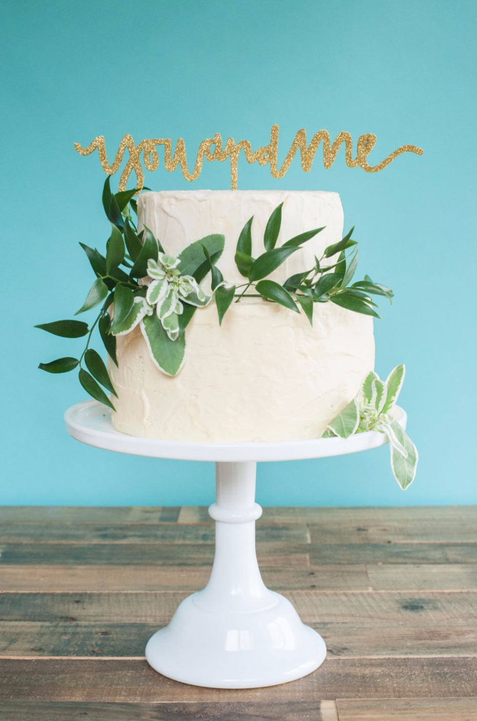 YOU AND ME wedding cake topper in gold glitter and other colors