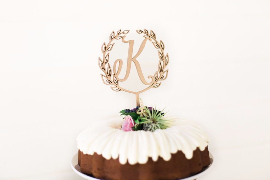 """Initial Wedding Cake Topper 5"""" inches, Letter Cake Topper, Rustic Topper, Wreath Initials Toppers Unique Cute Laser Cut by Ngo Creations"""