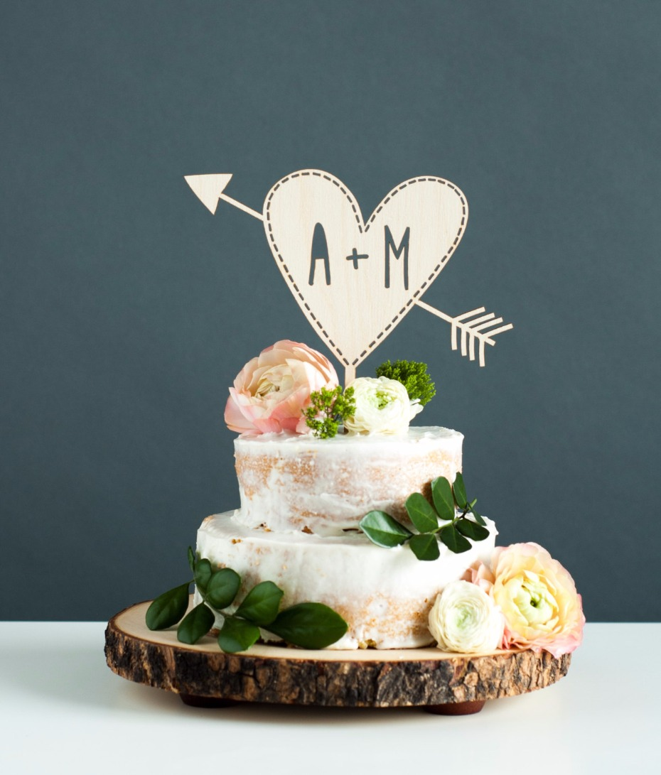 Custom Initials Wedding Cake Topper - Personalized Cake Topper Initials - Rustic Heart with Arrow Wedding Cake Topper