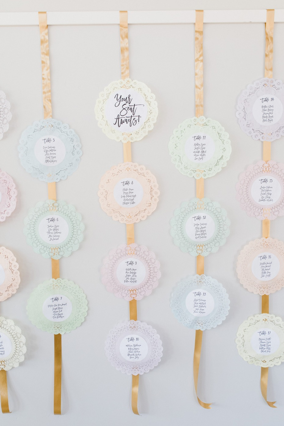 seating chart made of paper doilies from Prettie Parties