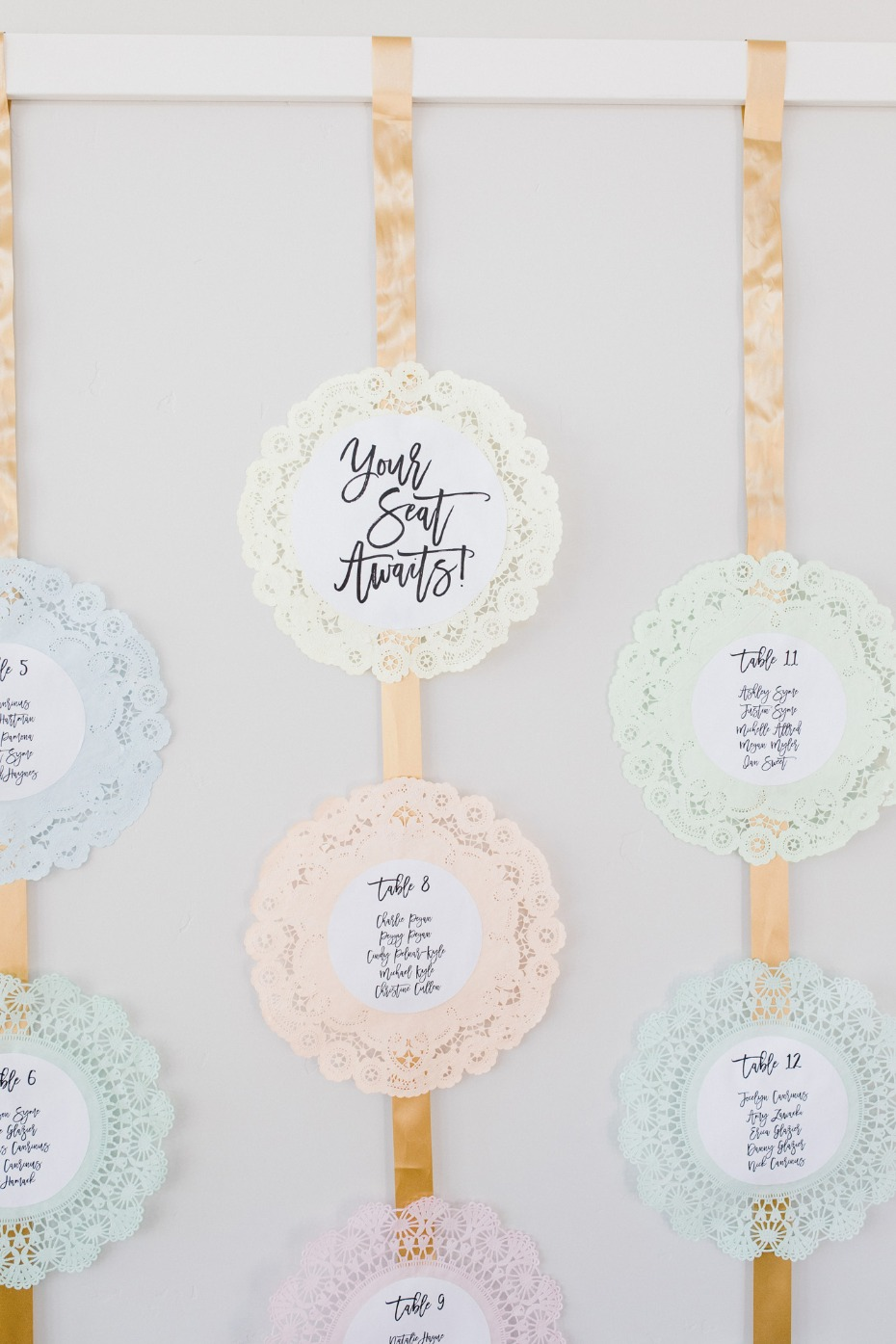 DIY doilie seating chart