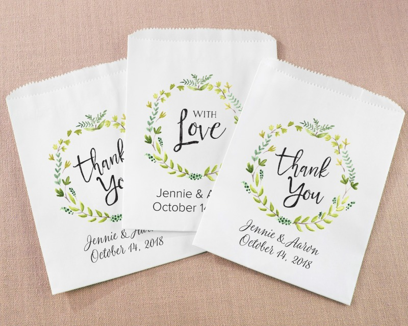 💚 Personalized White Goodie Bags with a Botanical design for your backyard baby shower, bridal shower, birthday party or anything