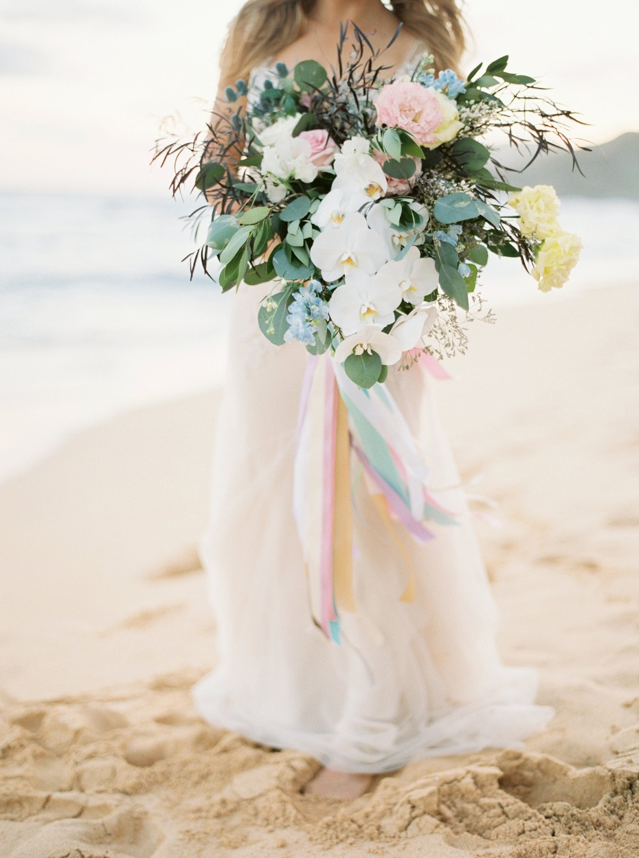 Beachy pastel spring orchid bouquet