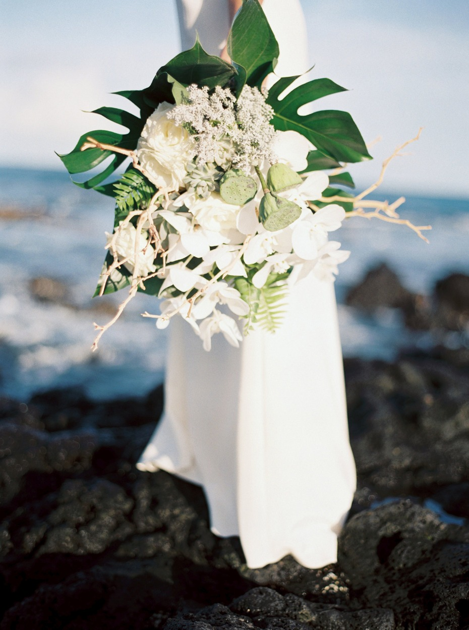 Texture filled tropical orchid bouquet