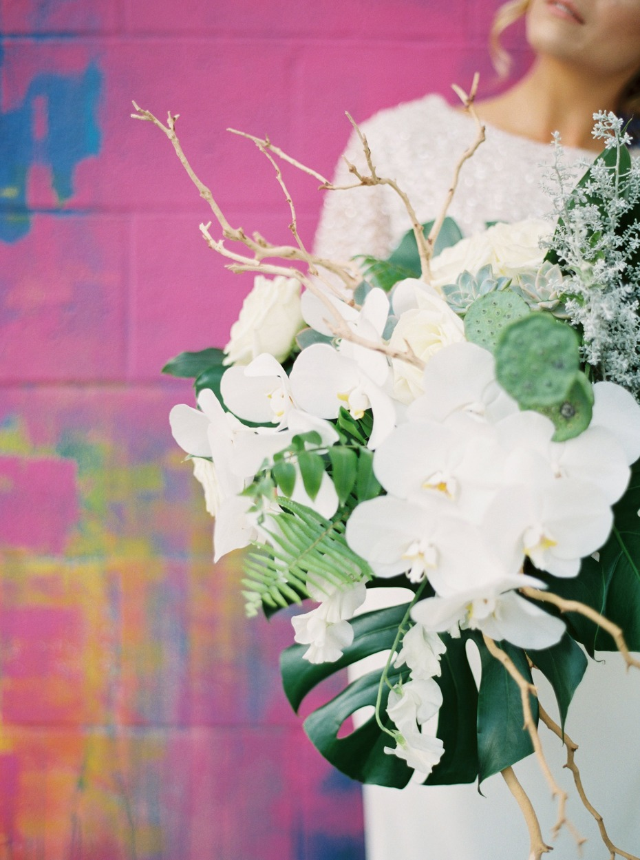 Tropical orchid bouquet filled with texture