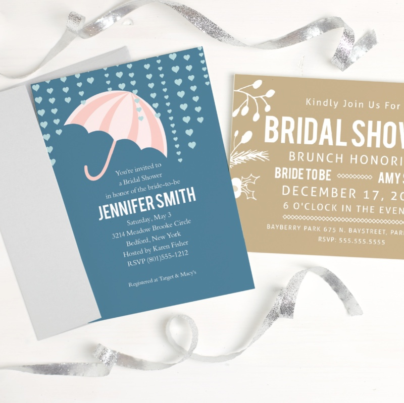 Cute bridal shower invitations to inspire all you brides to be! Choose from 180 colors and five paper types for a truly custom invite