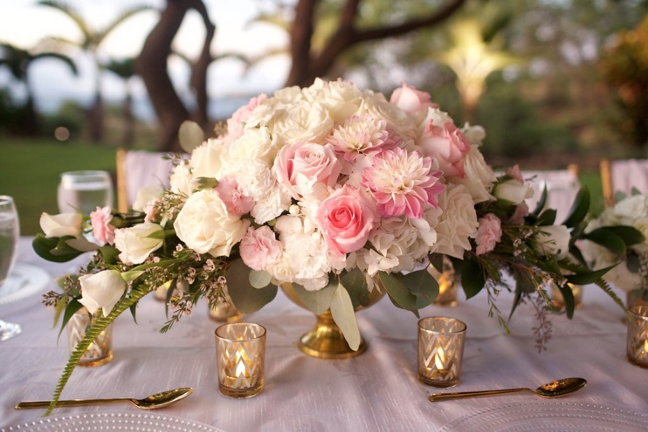 gold and pink wedding centerpiece