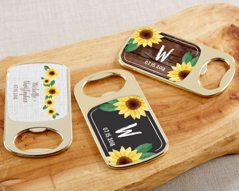 With shining gold and a colorful sunflower label, these bottle openers make the perfect summer wedding souvenirs!