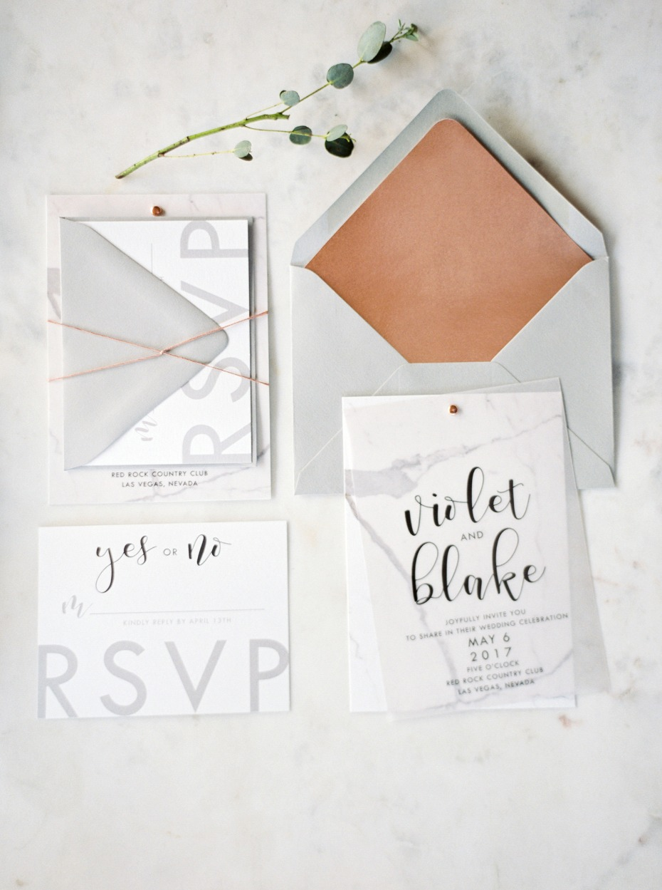 Marble and copper invitation suite