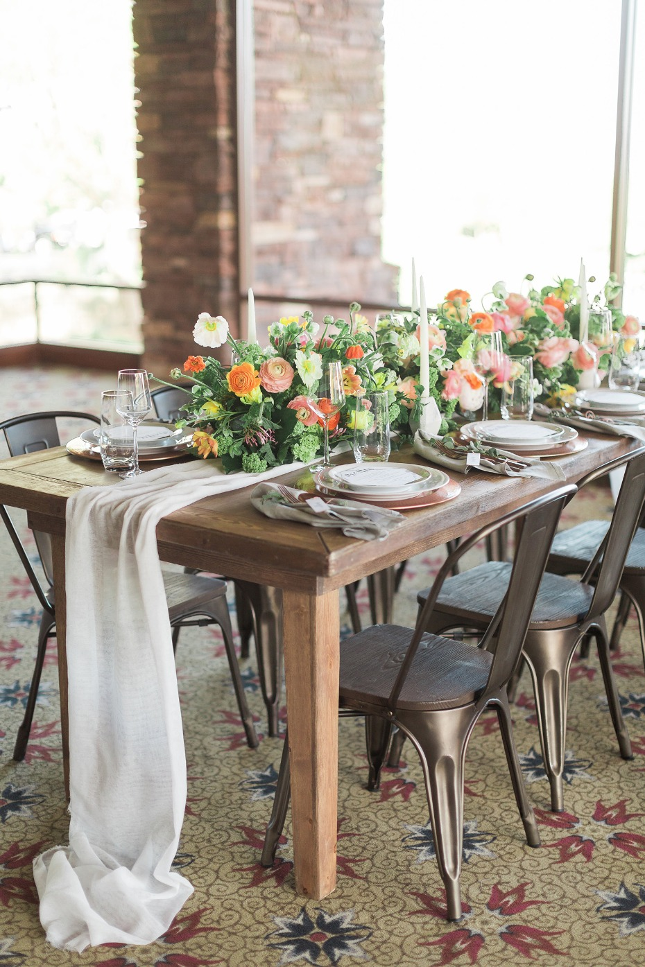 Naturally chic tablescape with copper and marble