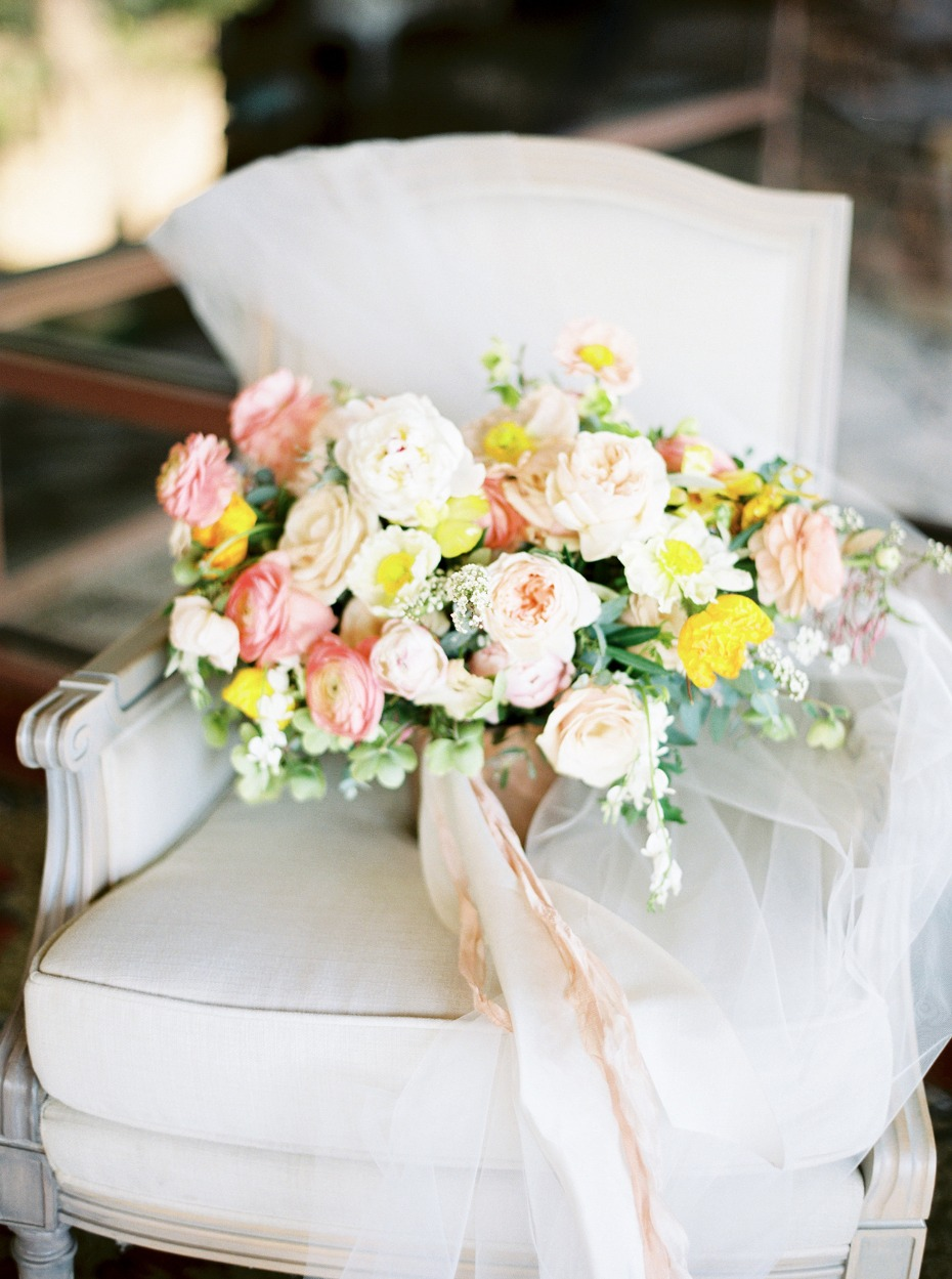 Yellow and blush bouquet