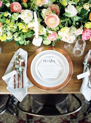 Whimsical Modern Wedding Inspiration in Copper and Marble