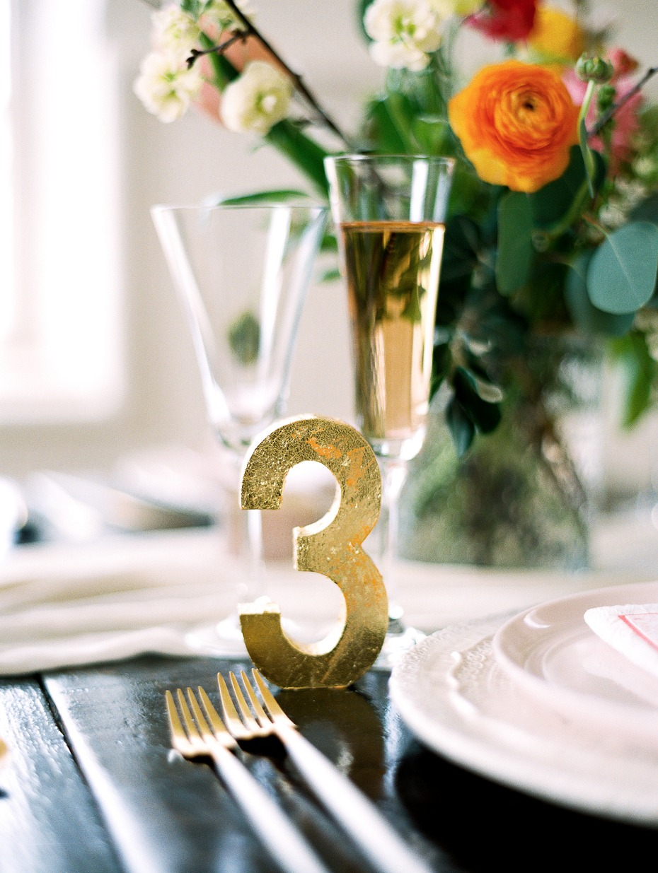 Gold foil table numbers