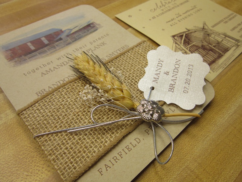 A custom wheat and burlap invitation designed exclusively by Persnickety Invitation Studio.