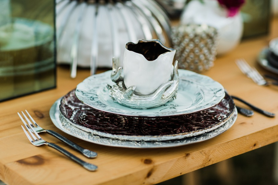 whimsical and modern wedding table place setting