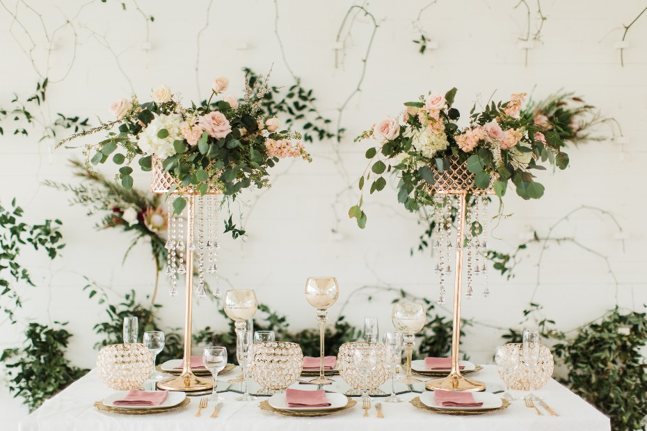 modern glam garden chic table decor