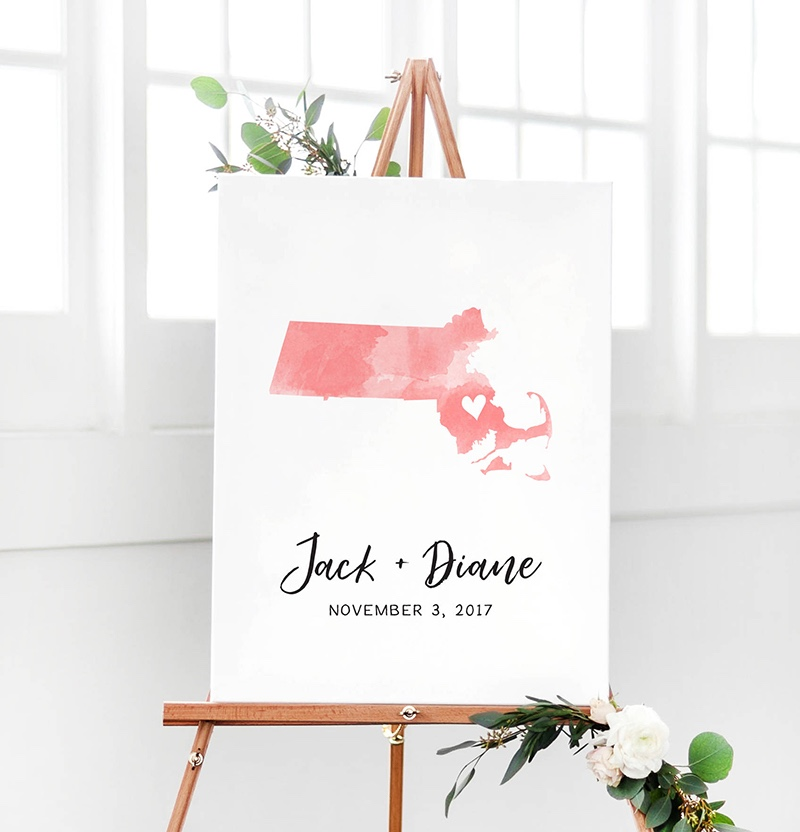 Miss Design Berry's watercolor wedding guest book map is customized with the state/country of your choice in the watercolor colors