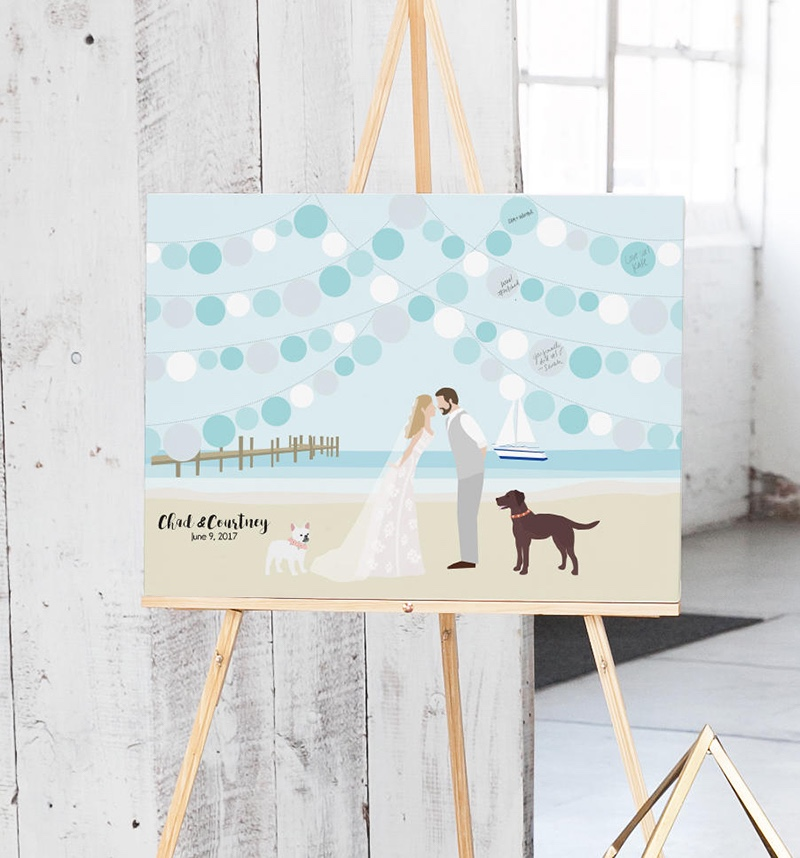 Miss Design Berry's beach Wedding Guest Book features a custom illustration of the couple leaning in for a kiss on the beach with strings
