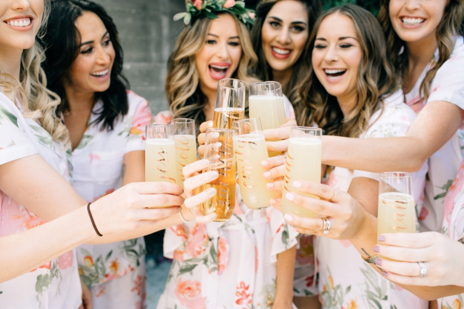 custom bridal glasses for your bridal party toast