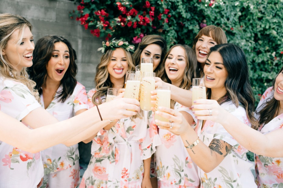 bridesmaid having a toast before the wedding