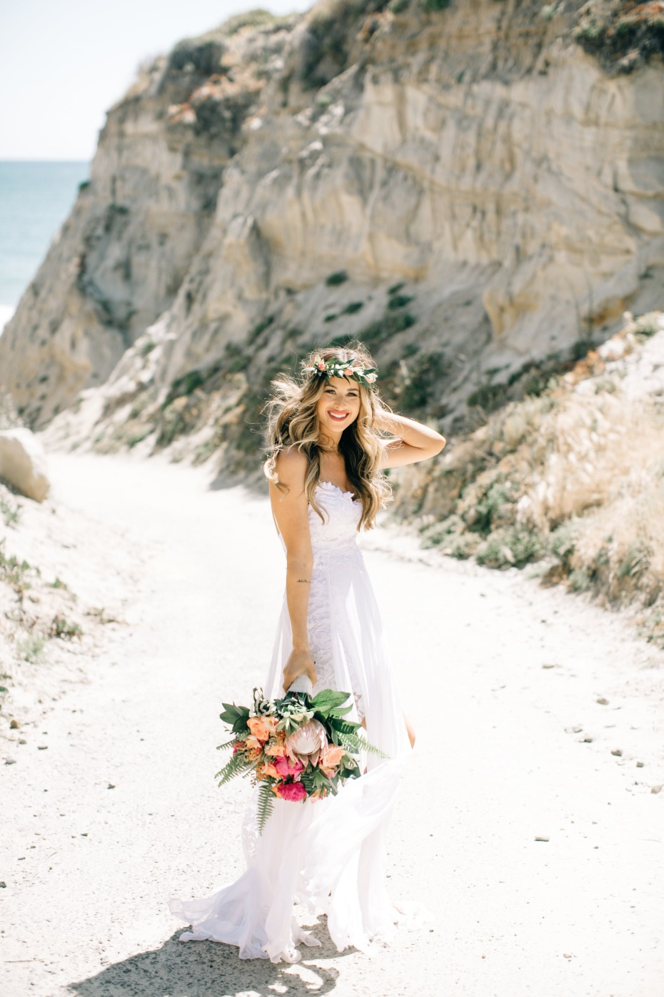 beach boho bridal portrait ideas