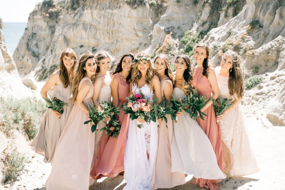 shades of peach boho perfect bridesmaids